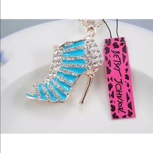 Betsey Johnson Crystal Blue High Heels Necklace